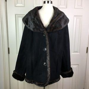 Lane Bryant Faux Suede & Fur Coat Size 26/28